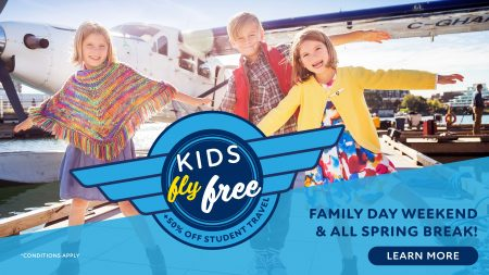 Family Day & Spring Break Special - Kids Fly Free plus 50% off student travel